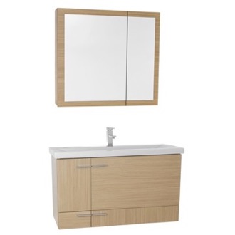 Bathroom Vanity 39 Inch Natural Oak Wall Mounted Vanity with Ceramic Sink, Medicine Cabinet Included NS52 Iotti NS52