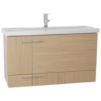 Bathroom Vanity 39 Inch Natural Oak Wall Mounted Vanity with Ceramic Sink NS22 Iotti NS22