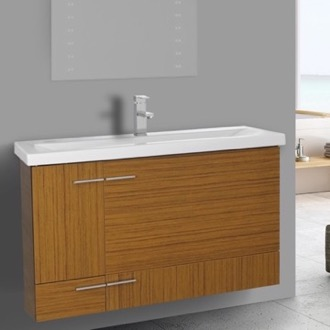 39 Inch Teak Wall Mounted Vanity with Ceramic Sink Iotti NS1C