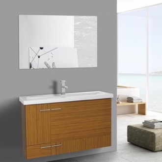 39 Inch Teak Wall Mounted Vanity with Ceramic Sink, Mirror Included Iotti NS35