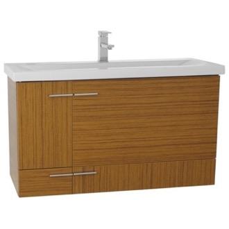 Bathroom Vanity 39 Inch Teak Wall Mounted Vanity with Ceramic Sink Iotti  NS1C. Teak Bathroom Vanities   TheBathOutlet com
