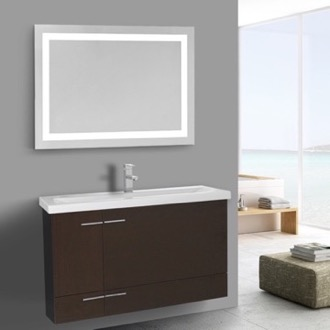 Bathroom Vanity 39 Inch Wenge Bathroom Vanity, Wall Mounted, Lighted Mirror Included Iotti NS402