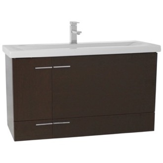 Bathroom Vanity 39 Inch Wenge Wall Mounted Vanity with Ceramic Sink Iotti NS20