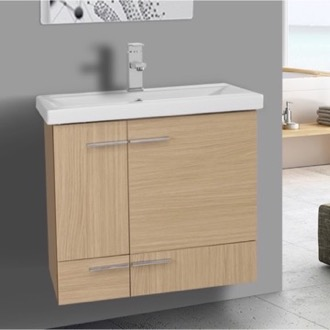 Bathroom Vanity 24 Inch Natural Oak Wall Mounted Vanity with Ceramic Sink Iotti NS14