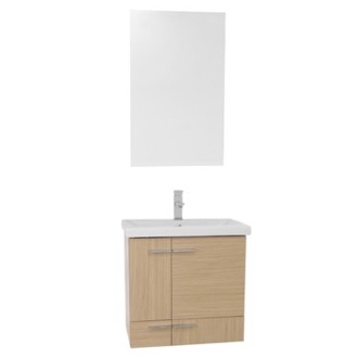 Bathroom Vanity 24 Inch Natural Oak Wall Mounted Vanity with Ceramic Sink, Mirror Included NS27 Iotti NS27