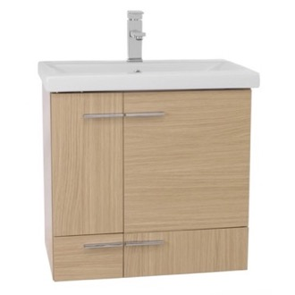 Bathroom Vanity 24 Inch Natural Oak Wall Mounted Vanity with Ceramic Sink NS14 Iotti NS14