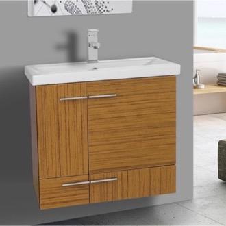 Bathroom Vanity 24 Inch Teak Wall Mounted Vanity with Ceramic Sink Iotti NS12