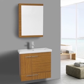 Bathroom Vanity 24 Inch Teak Wall Mounted With Ceramic Sink Medicine Cabinet Included Iotti