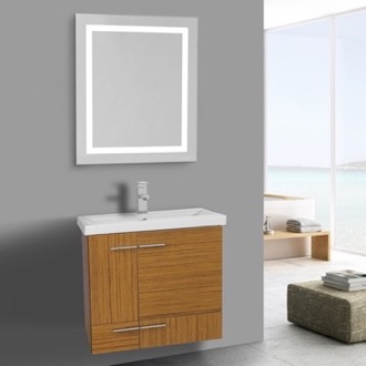 Amazing 23 Inch Teak Bathroom Vanity, Wall Mounted, Lighted Mirror Included Iotti  NS412