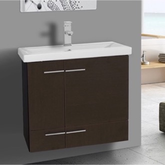 Bathroom Vanity 24 Inch Wenge Wall Mounted Vanity with Ceramic Sink Iotti NS3C