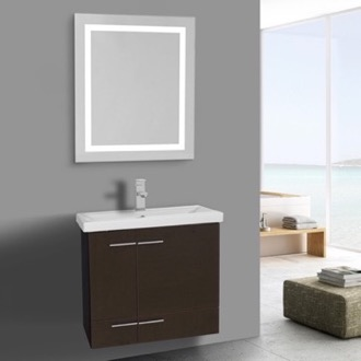 Bathroom Vanity 23 Inch Wenge Bathroom Vanity, Wall Mounted, Lighted Mirror Included Iotti NS415