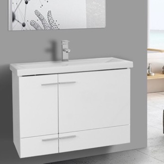 Bathroom Vanity 32 Inch Glossy White Wall Mounted Vanity with Ceramic Sink Iotti NS15