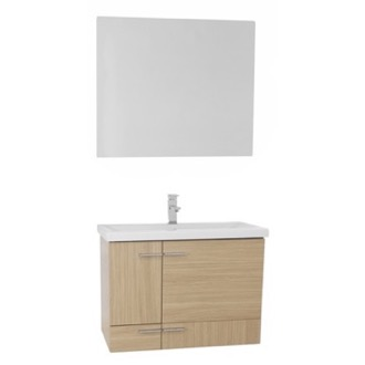 Bathroom Vanity 32 Inch Natural Oak Wall Mounted Vanity with Ceramic Sink, Mirror Included Iotti NS32