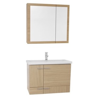 Bathroom Vanity 32 Inch Natural Oak Wall Mounted Vanity with Ceramic Sink, Medicine Cabinet Included Iotti NS47