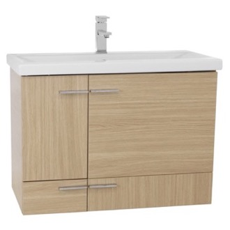 Bathroom Vanity 32 Inch Natural Oak Wall Mounted Vanity with Ceramic Sink NS18 Iotti NS18