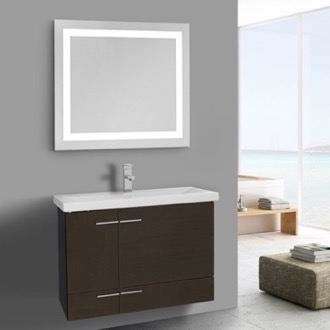 Bathroom Vanity 32 Inch Wenge Bathroom Vanity, Wall Mounted, Lighted Mirror Included Iotti NS431