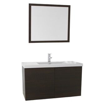 Bathroom Vanity 39 Inch Wenge Bathroom Vanity with Ceramic Sink, Mirror Included Iotti SE99