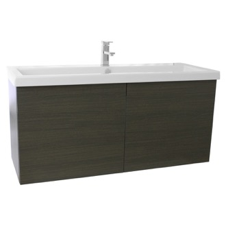 Bathroom Vanity 47 Inch Grey Oak Bathroom Vanity with Ceramic Sink Iotti SE25