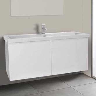 Bathroom Vanity 47 Inch Glossy White Bathroom Vanity with Ceramic Sink Iotti SE23