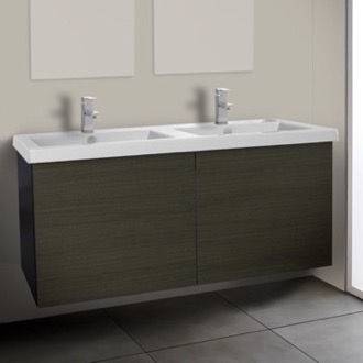 Bathroom Vanity 47 Inch Grey Oak Double Bathroom Vanity with Ceramic Sink Iotti SE28