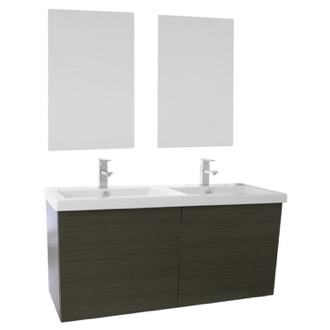 Bathroom Vanity 47 Inch Grey Oak Double Bathroom Vanity with Ceramic Sink, Mirrors Included Iotti SE127