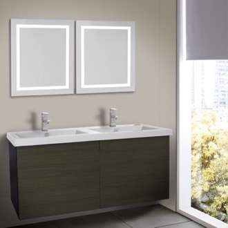 47 Inch Grey Oak Bathroom Vanity, Wall Mounted, Lighted Mirror Included Iotti SE527