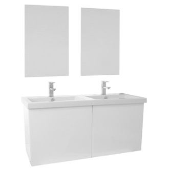 Bathroom Vanity 47 Inch Glossy White Double Bathroom Vanity with Ceramic Sink, Mirrors Included Iotti SE125