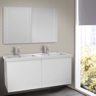 Bathroom Vanity 47 Inch Glossy White Double Bathroom Vanity with Ceramic Sink, Lighted Mirrors Included Iotti SE146