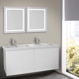 Bathroom Vanity 47 Inch Glossy White Bathroom Vanity, Wall Mounted, Lighted Mirror Included Iotti SE529