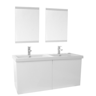 Bathroom Vanity 47 Inch Glossy White Double Bathroom Vanity with Ceramic Sink, Mirror Included Iotti SE104