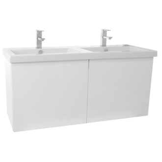 Bathroom Vanity 47 Inch Glossy White Double Bathroom Vanity with Ceramic Sink Iotti SE26