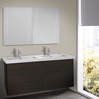 Bathroom Vanity 47 Inch Wenge Double Bathroom Vanity with Ceramic Sink, Lighted Mirrors Included Iotti SE147