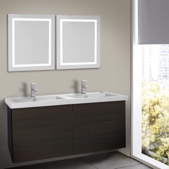 Bathroom Vanity 47 Inch Wenge Bathroom Vanity, Wall Mounted, Lighted Mirror Included Iotti SE531