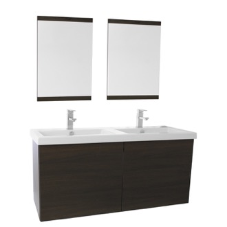 Bathroom Vanity 47 Inch Wenge Double Bathroom Vanity with Ceramic Sink, Mirror Included Iotti SE105