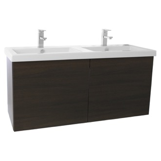 Bathroom Vanity 47 Inch Wenge Double Bathroom Vanity with Ceramic Sink Iotti SE27