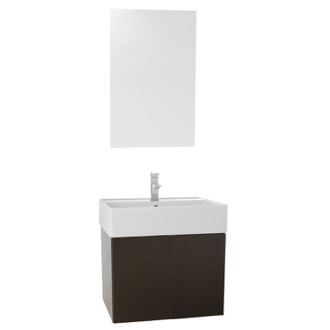 Bathroom Vanity 23 Inch Wenge Bathroom Vanity with Ceramic Sink, Mirror Included Iotti SM51