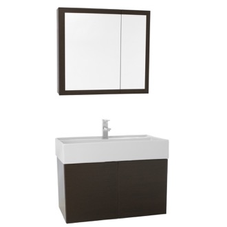 Bathroom Vanity 31 Inch Wenge Bathroom Vanity with Ceramic Sink, Medicine Cabinet Included Iotti SM78