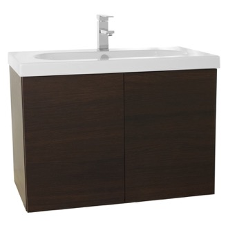 Bathroom Vanity 31 Inch Wenge Bathroom Vanity with Ceramic Sink Iotti TR08