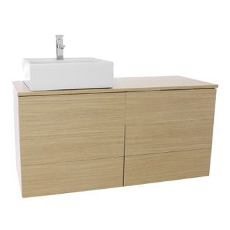 Bathroom Vanity 47 Inch Natural Oak Vessel Sink Bathroom Vanity, Wall Mounted Iotti TN252