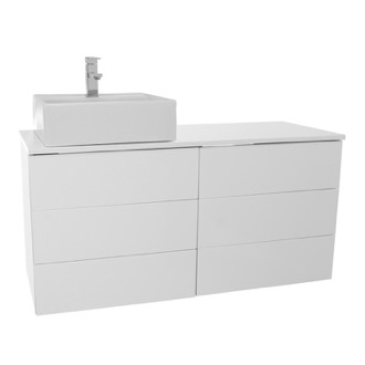Bathroom Vanity 47 Inch Glossy White Vessel Sink Bathroom Vanity, Wall Mounted Iotti TN249