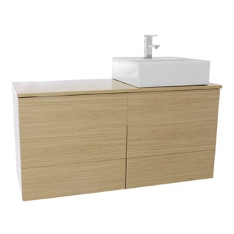 Bathroom Vanity 47 Inch Natural Oak Vessel Sink Bathroom Vanity, Wall Mounted Iotti TN172