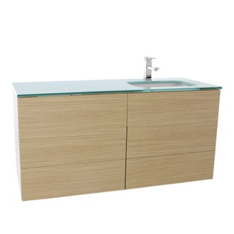 Bathroom Vanity 47 Inch Natural Oak Bathroom Vanity with White Glass Top, Wall Mounted TN187 Iotti TN187