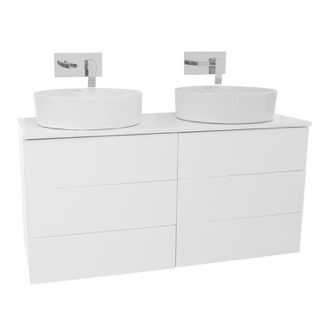 Bathroom Vanity 47 Inch Glossy White Double Vessel Sink Bathroom Vanity, Wall Mounted Iotti TN337