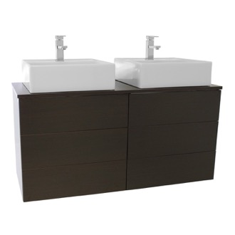 Bathroom Vanity 47 Inch Wenge Double Vessel Sink Bathroom Vanity, Wall Mounted Iotti TN330