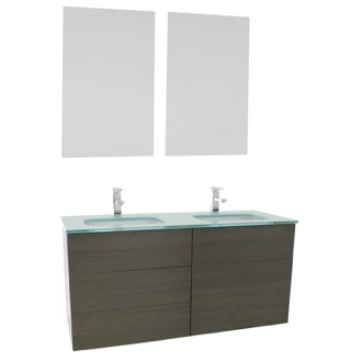 Bathroom Vanity 47 Inch Grey Oak Double Vanity with White Glass Top, Wall Mounted, Mirrors Included Iotti TN1920