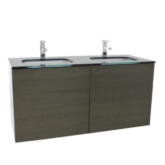 Bathroom Vanity 47 Inch Grey Oak Double Vanity with Black Glass Top, Wall Mounted Iotti TN346