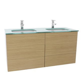 Bathroom Vanity 47 Inch Natural Oak Double Vanity with White Glass Top, Wall Mounted Iotti TN347