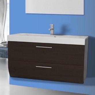 2 Drawers Vanity Cabinet with Self Rimming Sink Iotti NN2C-Wenge