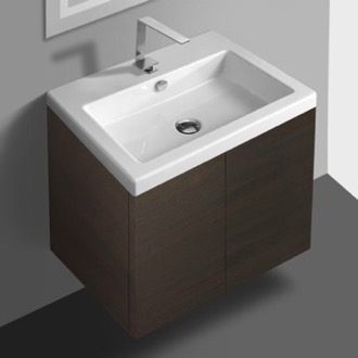 Wenge Vanity Cabinet with Self Rimming Sink and 2 Doors Iotti SE01C-Wenge