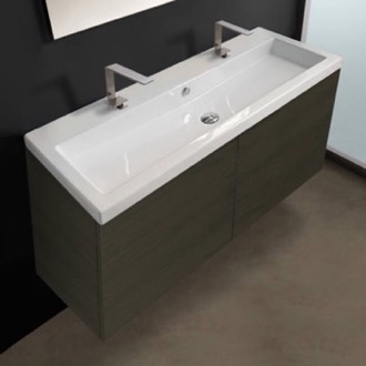 47 Inch Vanity Cabinet with Self Rimming Sink Iotti SE39-Grey Oak